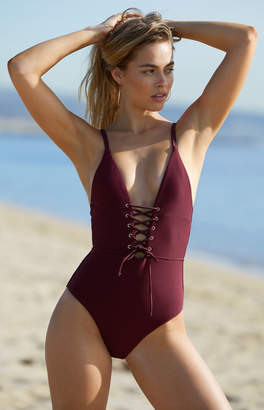 La Hearts Lace-Up One Piece Swimsuit