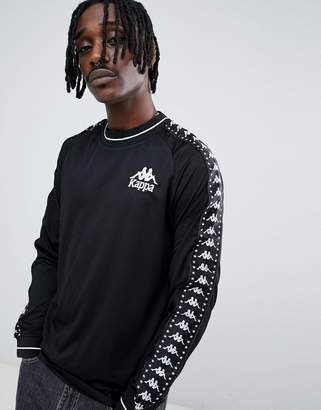 Kappa long sleeve t-shirt with contrast ringer and logo taping in black