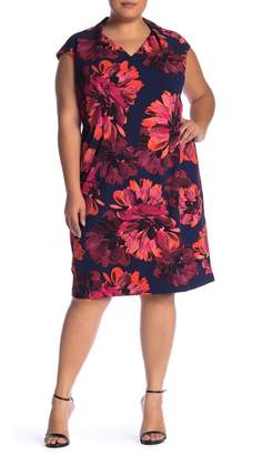 London Times V-Neck Floral Print Sheath Dress (Plus Size)