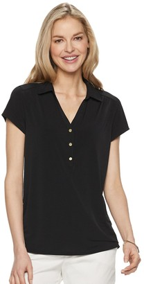 Croft & Barrow Women's Short-Sleeve Collared Popover