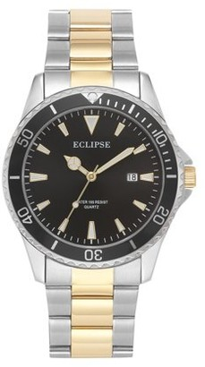 Eclipse Men's Round Dress Two-Tone Metal Watch