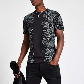 River Island Black floral print slim fit T-shirt