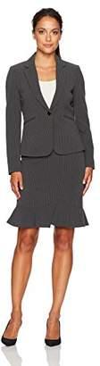 Tahari by Arthur S. Levine Women's Petite Size Pinstripe One Button Skirt Suit