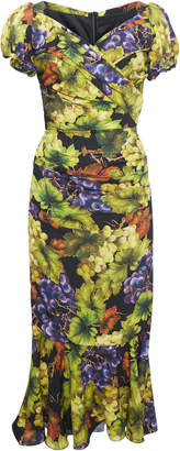 Dolce & Gabbana Ruched Printed Stretch-Silk Midi Dress