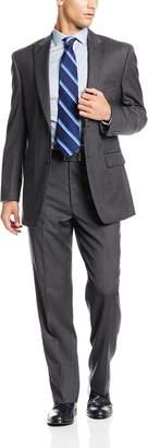 Jones New York Men's Colt 2 Button Side Vent Suit with Flat Front Pant Peak Lapel