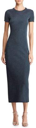 Ralph Lauren Cap-Sleeve Metallic Midi Dress