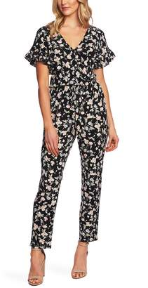 CeCe Duchess Floral Print Faux Wrap Jumpsuit