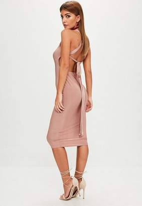 Missguided Pink Square Neck Tie Back Midi Dress