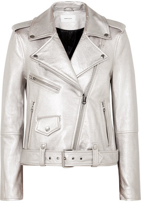 Current/Elliott The Shaina Metallic Textured-leather Biker Jacket - Silver