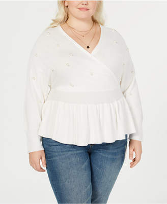 Say What Trendy Plus Size Faux-Wrap Peplum Sweater