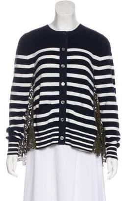 Sacai Lace-Paneled Button-Up Cardigan w/ Tags