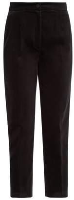 Dolce & Gabbana High Rise Tailored Velvet Trousers - Womens - Black