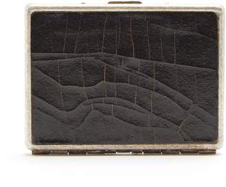 Marc Marmel Cracked-leather and metal card case