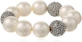 "Kenneth Jay Lane and Crystal Pave Ball Stretch Bracelet, 8"""