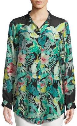 Johnny Was Solo Long-Sleeve Button-Front Tropical Blouse , Plus Size