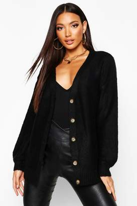 boohoo Balloon Sleeve Button Through Cardigan