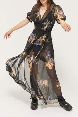 Urban Outfitters Lohi Sheer Floral Wrap Maxi Romper