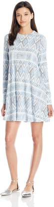 Lucy-Love Lucy Love Women's Max Chill Sweater Knit Printed Long Sleeve Swing Dress