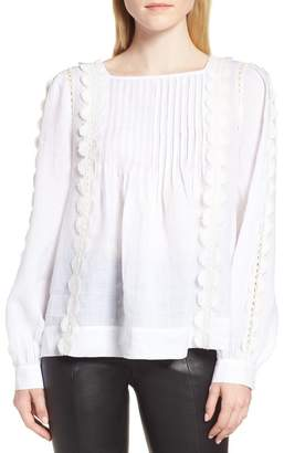 Nordstrom Signature Pintuck Crochet Applique Blouse
