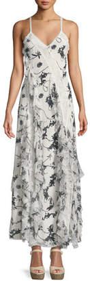 Alice + Olivia Jayda V-Neck Sleeveless Ruffled Godet Floral-Print Maxi Dress