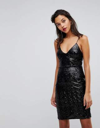 Club L London Cami Strap All Over Sequin Dress