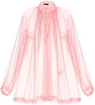 Kitx gathered neck sheer blouse