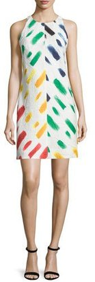 Milly Sleeveless Couture Brushstroke Mini Dress, Multi Colors $435 thestylecure.com