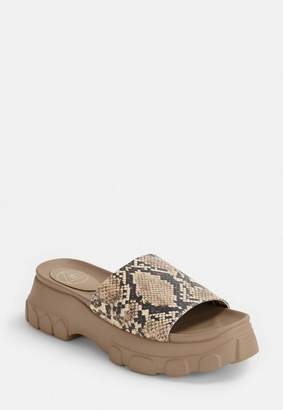 Missguided Tan Snakeskin Chunky Sole Sliders, Grey
