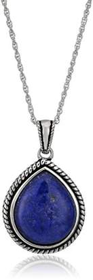 Lapis Sterling Silver Rope Teardrop Pendant Necklace