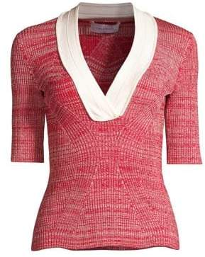 Yigal Azrouel Melange V-Neck Knit Sweater