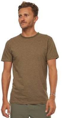 rhythm New Men's Everyday Stripe Mens Tee Cotton Green