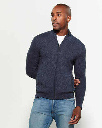Calvin Klein Marled Contrast Waffle Long Sleeve Zip-Up Sweater