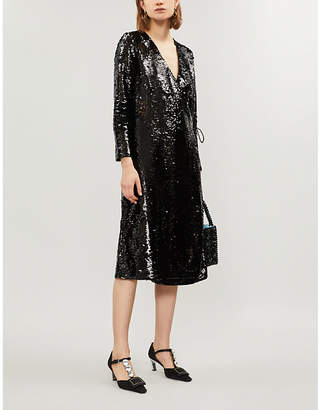Ganni Ladies Black Sonora Sequinned Dress