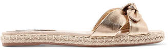 Tabitha Simmons Heli Bow-embellished Metallic Leather Espadrille Slides - Bronze