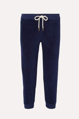 The Great The Cropped Cotton-blend Velour Track Pants - Navy