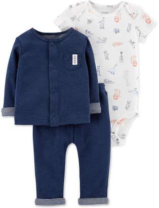 Carter's Baby Boys 3-Pc. Cardigan, Bodysuit & Pants Set
