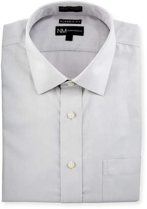 Neiman Marcus Classic Fit Non-Iron Dobby Dress Shirt, Silver