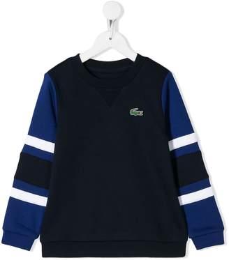 Lacoste Kids striped sleeve sweatshirt