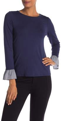Vince Camuto Mixed Media Knit Poplin Cuffs Blouse