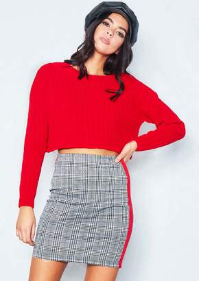 a7bebbabd7 Missy Empire Lottie Grey Dogtooth Stripe Mini Skirt