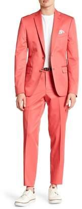 Nordstrom Rack Solid Double Button Notch Lapel Trim Fit Suit