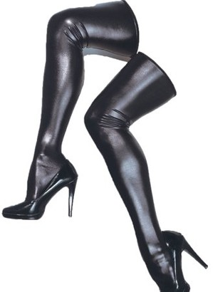 Coquette Black Wet Look Thigh High Stockings Adult Halloween Accessory