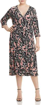 Leota Plus Mae Floral-Print Faux-Wrap Dress