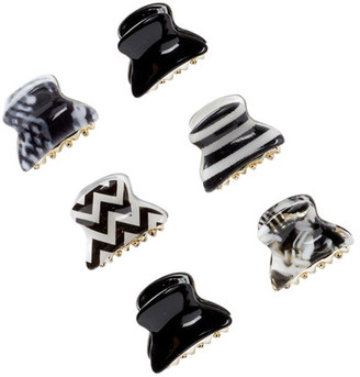 FINEST ACCESSORIES Black & White Mini Jaw Hair Clips - Set of 6 $14.97 thestylecure.com
