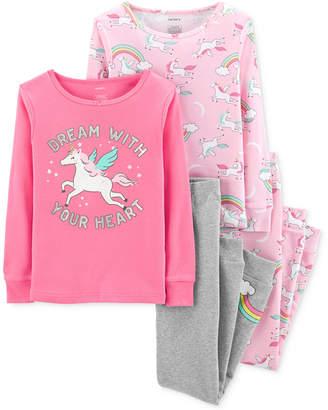 Carter's Little Girls 4-Pc. Unicorn Graphic Cotton Pajamas Set