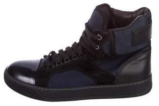 Lanvin Satin High-Top Sneakers