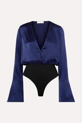 Caroline Constas Daria Silk-satin Bodysuit - Navy