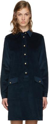 A.P.C. Navy Agnes Dress $375 thestylecure.com