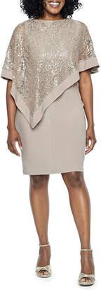 R & M Richards Sleeveless Embellished Jacket Dress-Petites Short