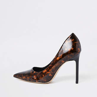 River Island Brown printed pointed toe pumps